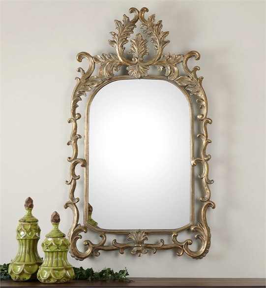 Ambient Antiqued Gold Leaf Accented With A Light Gray Wash Gold Arch Mirrors