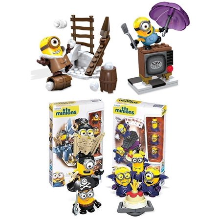 Mega Bloks Despicable Me Minions Figure Building Toy 204 Piece Super Playset Set [Vampire Surprise - Pirates Shark Bait - Silly TV - Snowball - Collectible Minions