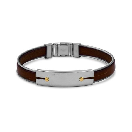 Sterling Silver 8 5 Inch Stainless Steel And Leather Mens Bracelet With 18 Karat Gold Accents