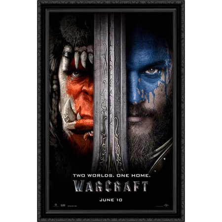 Warcraft 26X40 Large Black Ornate Wood Framed Canvas Movie Poster Art