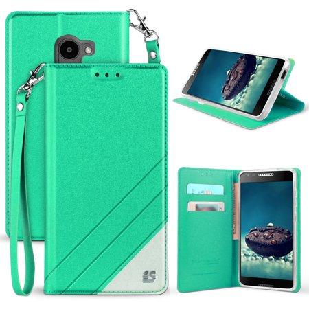 Alcatel A30 Fierce/Plus/Revvl Case, Infolio Wallet Credit Card Slot Cover,  View Stand [with Wrist Strap Lanyard] for Alcatel A30 Fierce (MetroPCS,