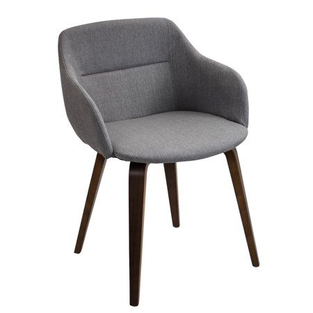 Groovy Campania Mid Century Modern Dining Accent Chair In Walnut And Grey By Lumisource Short Links Chair Design For Home Short Linksinfo
