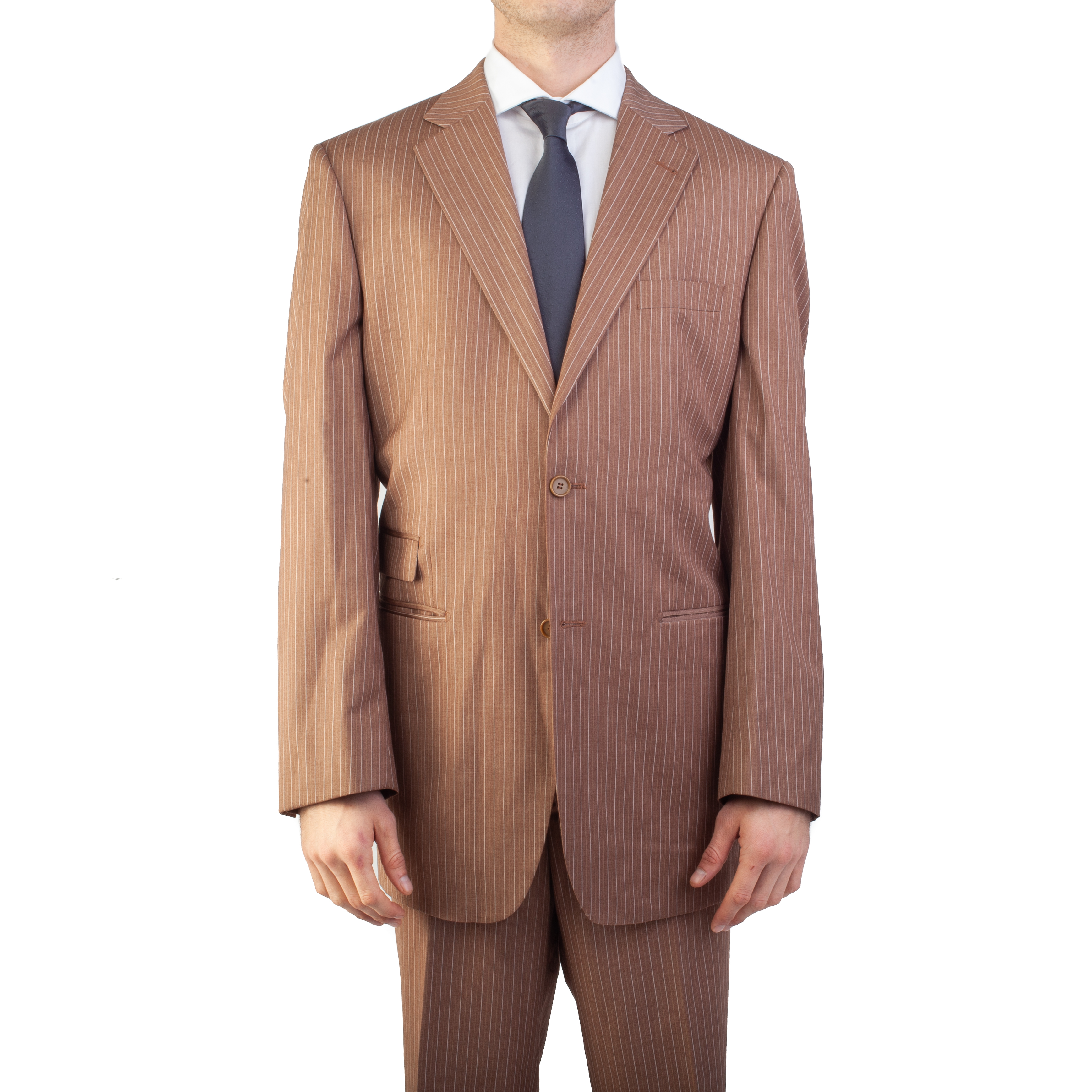 Ferrecci Men's Two Button Pinstripe Polyester Suit Brown