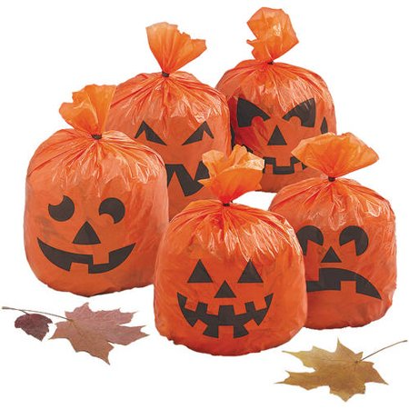 Hanging Leaf Bag Pumpkin Halloween Decorations, 8 x 6 in, Orange, 20ct