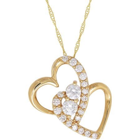 believe by brilliance cz 10kt yellow gold duo heart