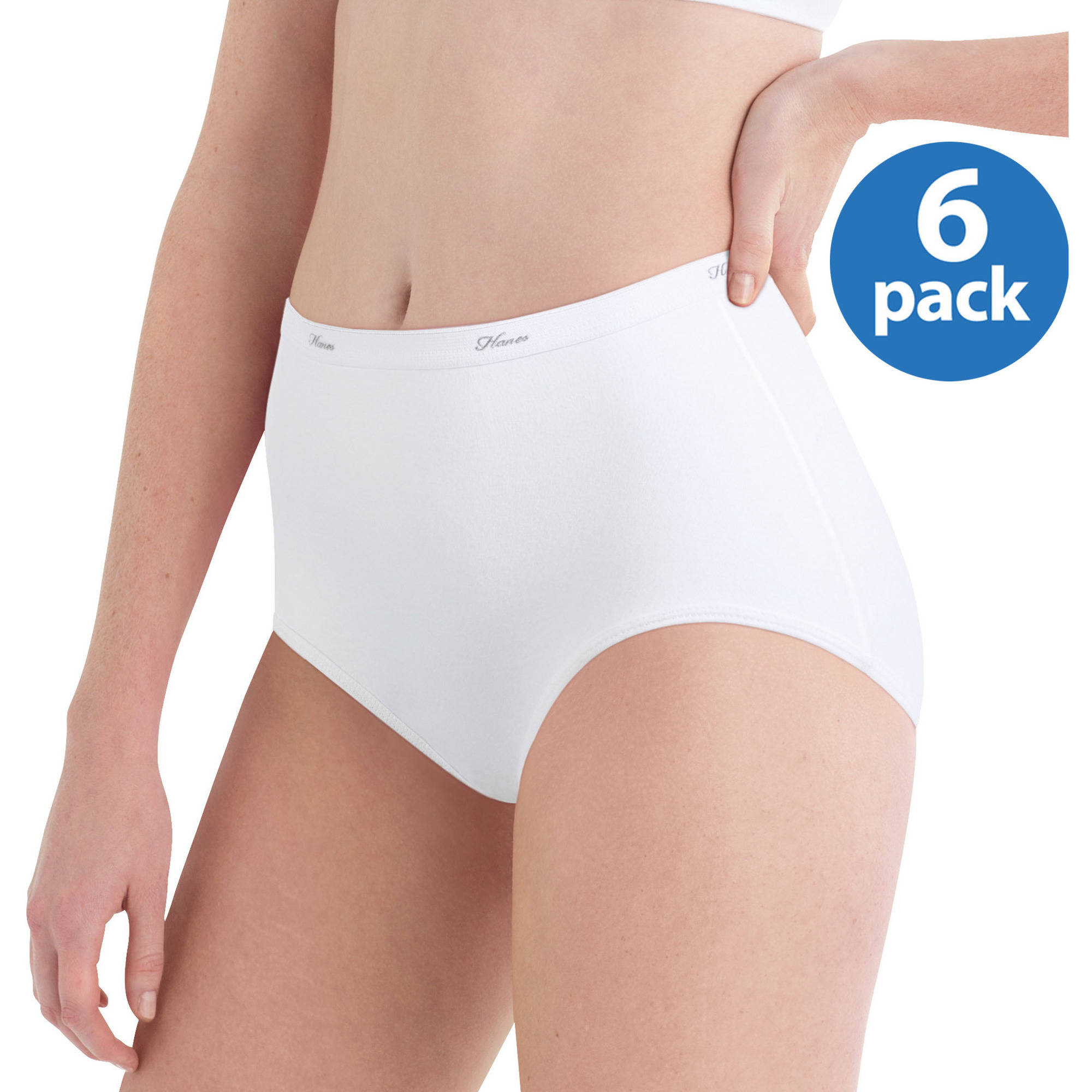 Hanes Women's Cotton No Ride Up White Briefs 6-Pack