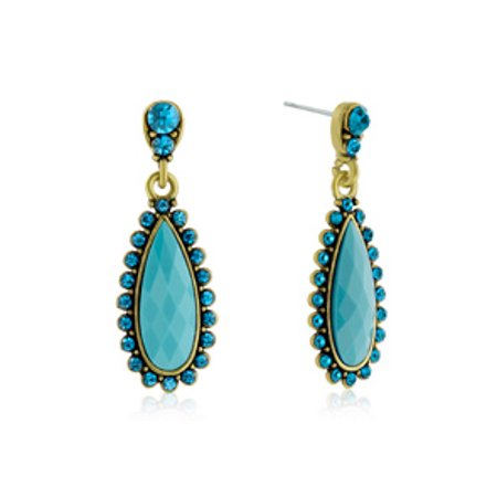 Passiana Drop Crystal Earrings Turquoise
