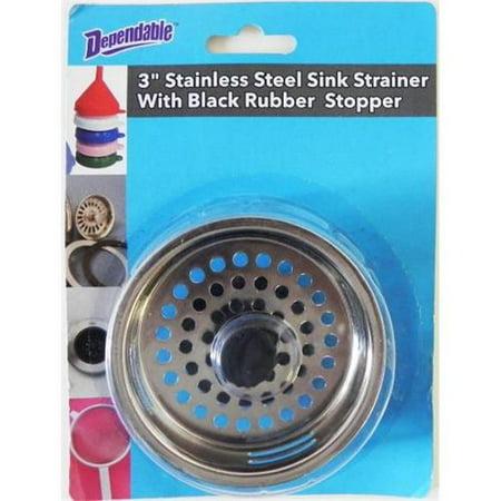 2 Pack Kitchen Sink Drain Metal Strainer Basket & Stopper W/ Rubber Plug Bottom