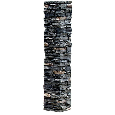 NextStone™ Faux Polyurethane Stone Post Cover Sleeve - Midnight Ash Faux Accent Stones