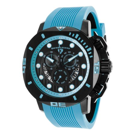 Swiss Legend 10538S-Bb-01-Bblas Scubador Sport Chrono Light Blue Silicone Black Dial Black Ip Ss Watch