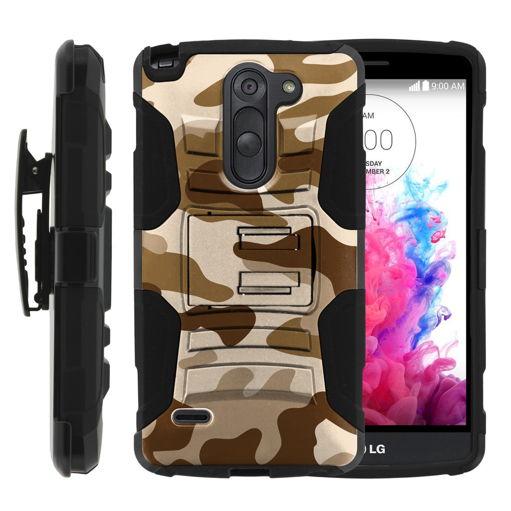 LG G3 Stylus Case | LG D690 Case | G3 Stylus Holster Case [ Clip Armor ] Rugged Case with Kickstand + Holster - Brown Camouflage
