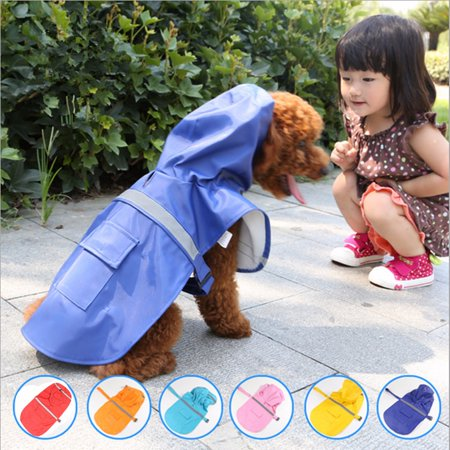 Waterproof Dog Raincoat SM Pet Clothes Hoodie Jacket Poncho Outdoor with Reflective Strip For Dog - Poncho Dog