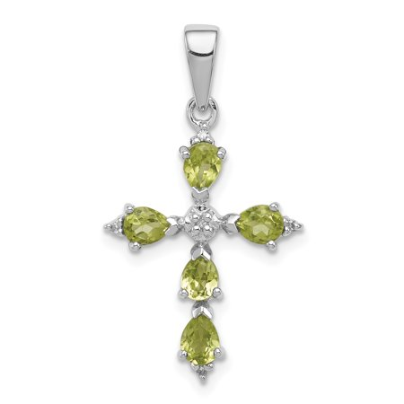 925 Sterling Silver Pear Green Peridot Cross Religious Pendant Charm Necklace Gemstone Fine Jewelry Ideal Gifts For Women Gift Set From - Cut Peridot Cross
