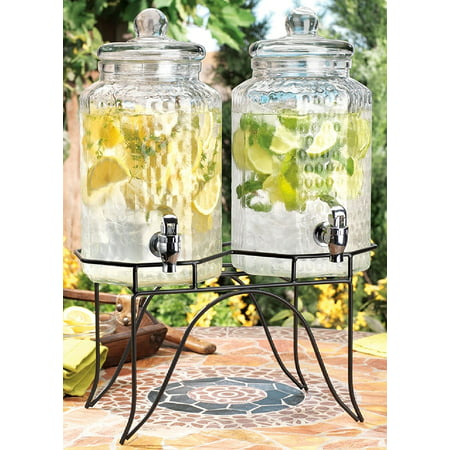 Drink dispenser Del Sol Hammered Jug Beverage Dispenser With Rack, Set Of 2 ()