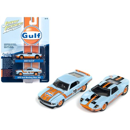 "2005 Ford GT Light Blue ""Gulf"" & 1970 Ford Mustang Boss 302 ""70"" Light Blue ""Gulf"" 1/64 Diecast Cars by Johnny Lightning"