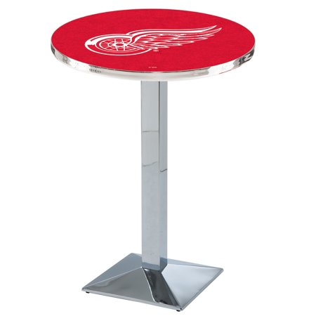"L217 - 36"" Chrome Detroit Red Wings Pub Table with 36"" dia. top by Holland Bar Stool Co."