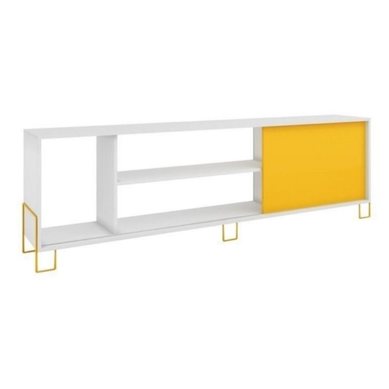 """Bowery Hill 71"""" TV Stand in White and Yellow"""