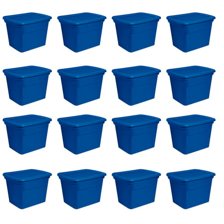 Sterilite 18 Gallon Heavy Duty Stackable Storage Tote, Blue Morpho (16 Pack)