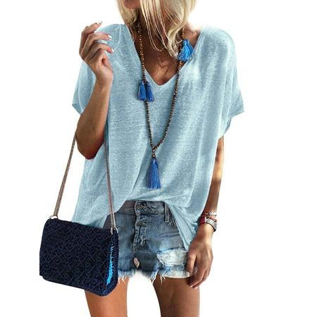 Nlife Women Short Sleeve V Neck Solid Color Top