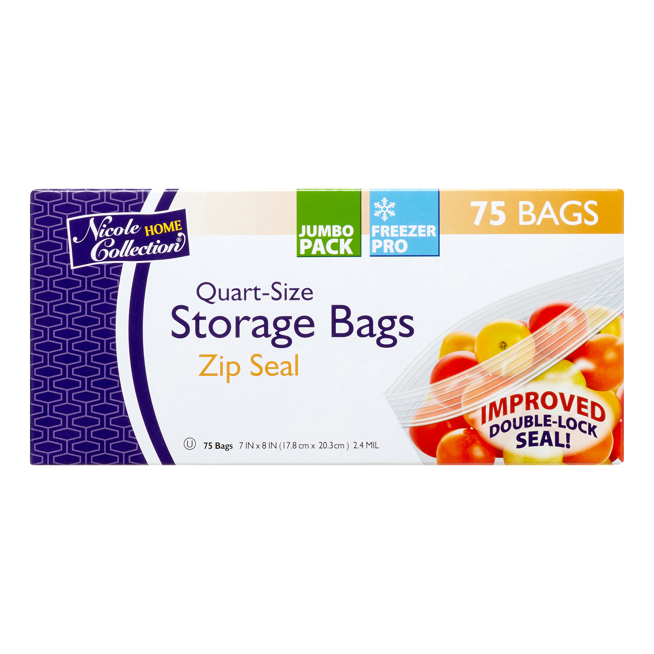 Nicole Home Collection Zipper Freezer Bags, Quart, 75 Ct
