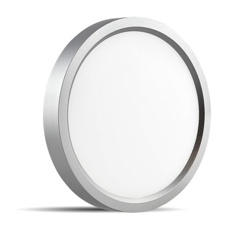 Luxrite 5 Inch LED Flush Mount Ceiling Light, 10W, Nickel Finish, 3000K  (Soft White), 600 Lumen, Dimmable, Surface Mount LED Ceiling Light, Wet  Rated,