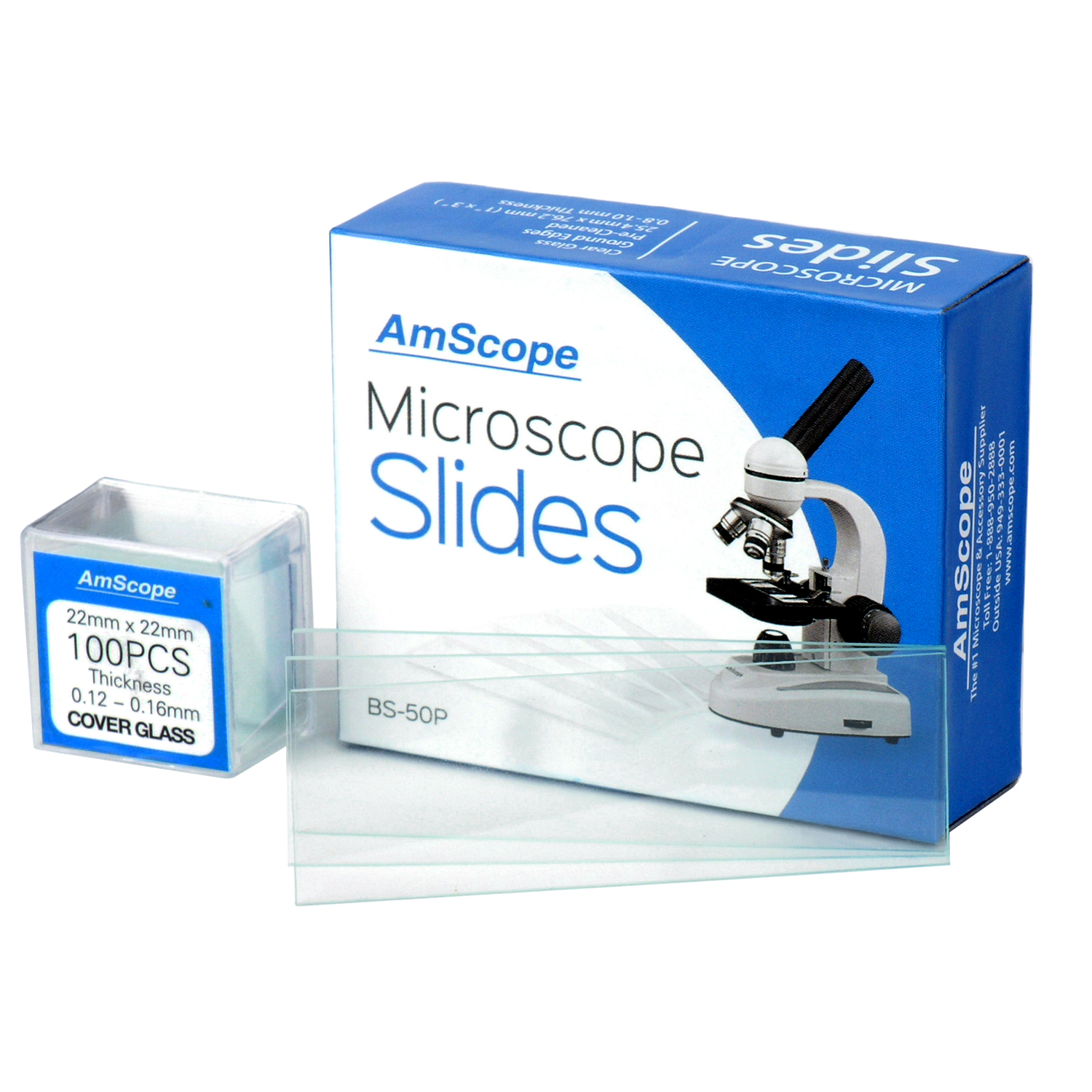 AmScope 50 Pre-Cleaned Blank Microscope Slides and 100 22x22mm Square Cover Glass