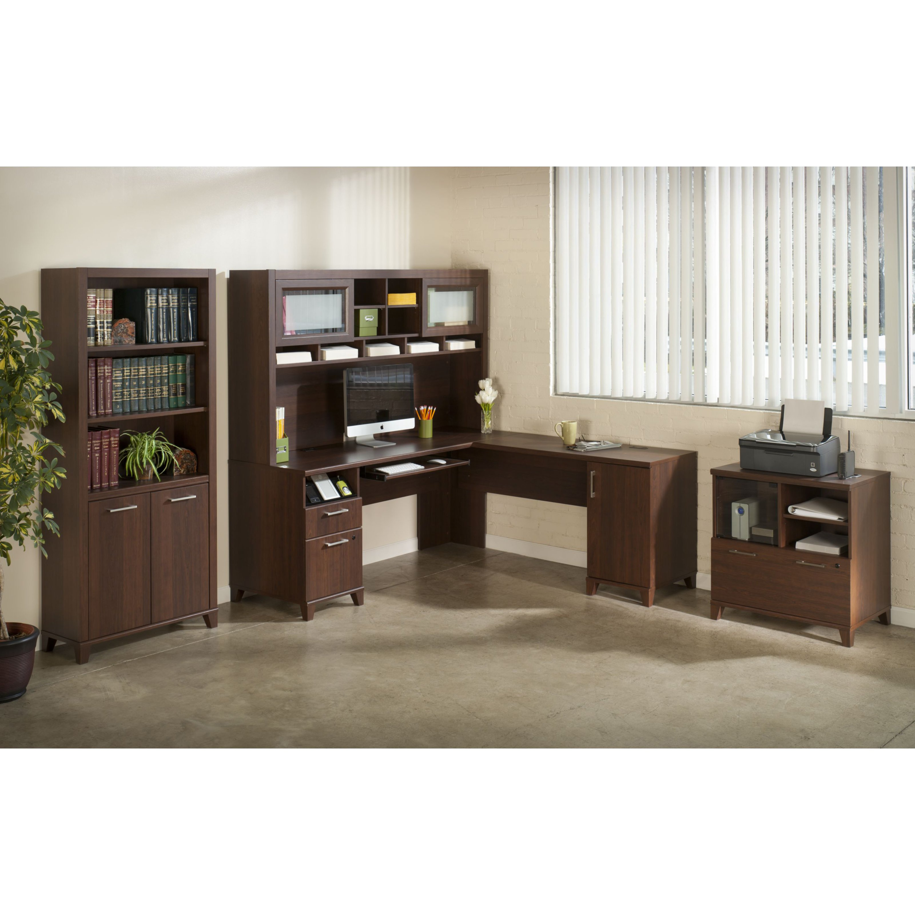 Bush Office Connect Achieve L-Shaped Desk and Hutch with Bookcase and Lateral File - Sweet Cherry