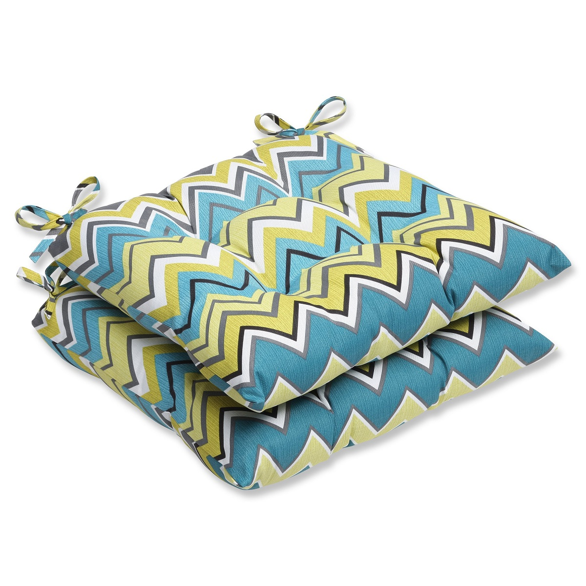 Set of 2 Chevron Surtido Lime Green & Turquoise Blue Outdoor Patio Wrought Iron Chair Cushions 19""
