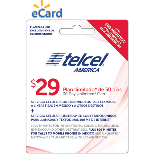 Telcel UNL TTD 100MB@4G 1000 min ILD plus 100 min Mex Cell $29 (Email Delivery)