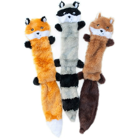 Zippy Paws Skinny Peltz - Fox, Raccoon, Squirrel - Large Pack of 3