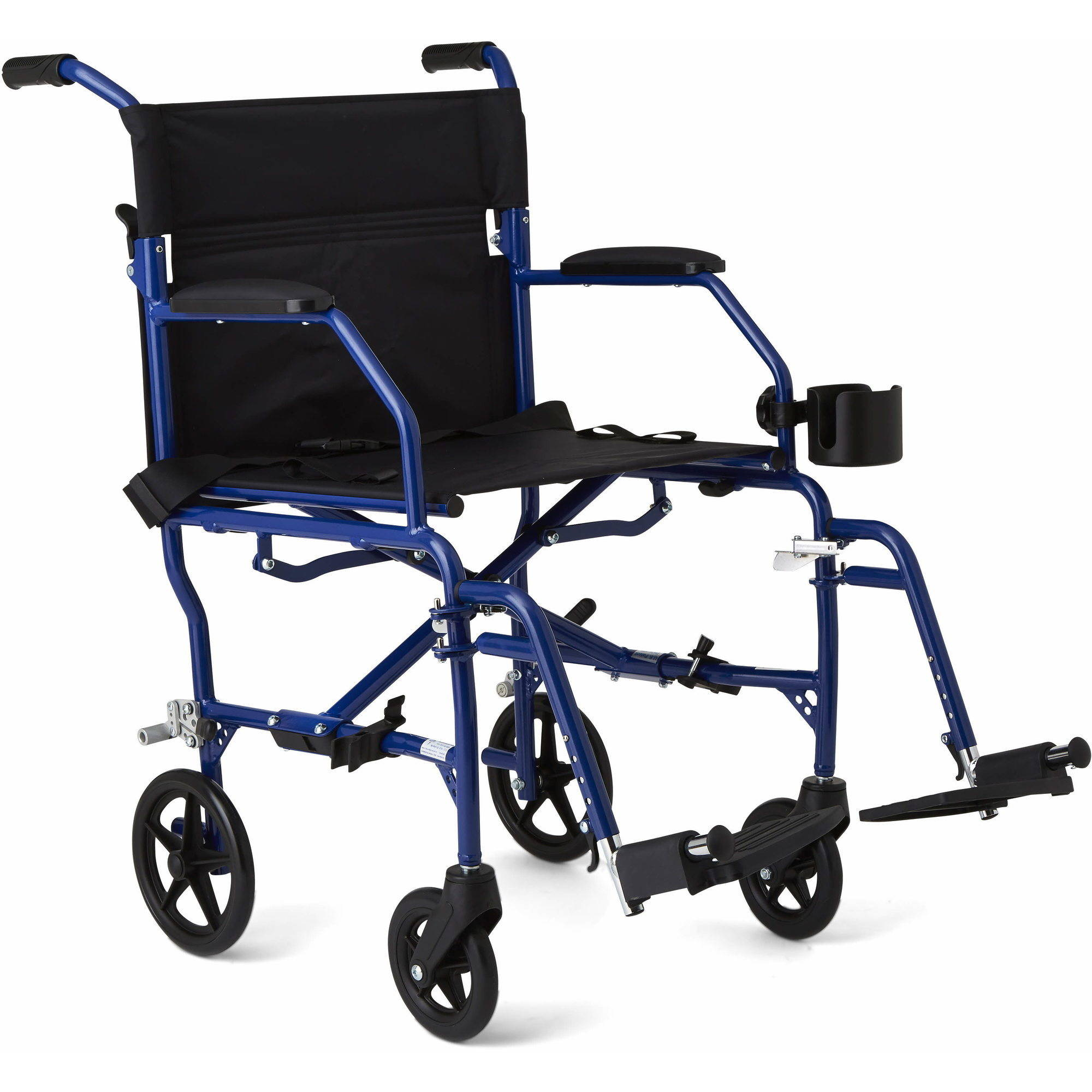 "Medline Ultralight Transport Wheelchair with 19"" x 16"" Seat, Blue"