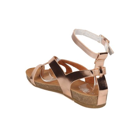334e301b7548 Alrisco - New Women Refresh Whisper-03 Metallic PU Strappy Footbed ...