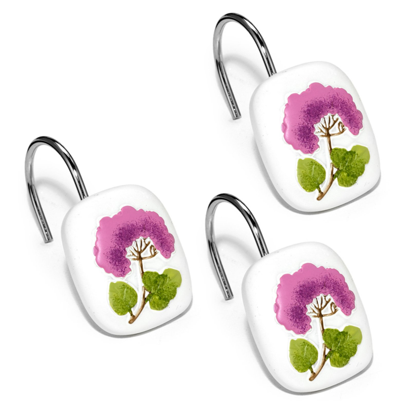 Sweet Home Collection Jasmine Plum Bath Collection - Bathroom Shower Curtain Hooks