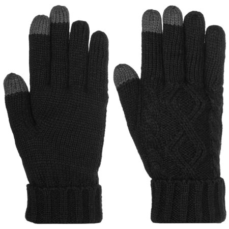 Womens Winter Mitt (DG Hill Warm Texting Gloves For Women, Cable Knit Touchscreen Winter Text Gloves Cute & Cozy Fleece)