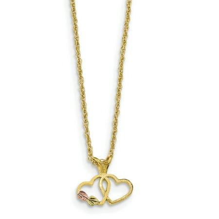 10k Tri-Color Black Hills Gold Double Heart Necklace