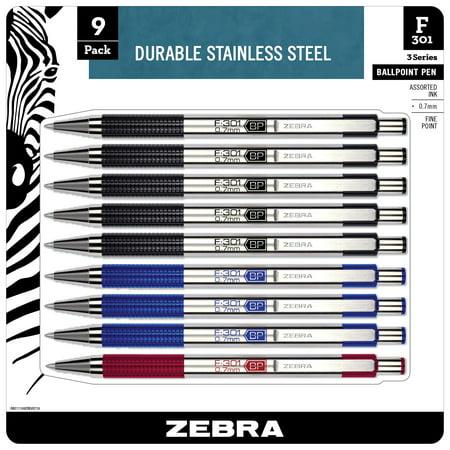 Zebra F-301 Ballpoint Stainless Steel Retractable Pen, Fine Point, 0.7mm, Assorted Ink, 9-Count: Black, Blue, (Zebra File)