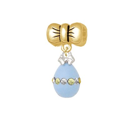 Easter Egg Bead - Light Blue Easter Egg with Multicolored Crystal Band - Gold Tone Bow Charm Bead