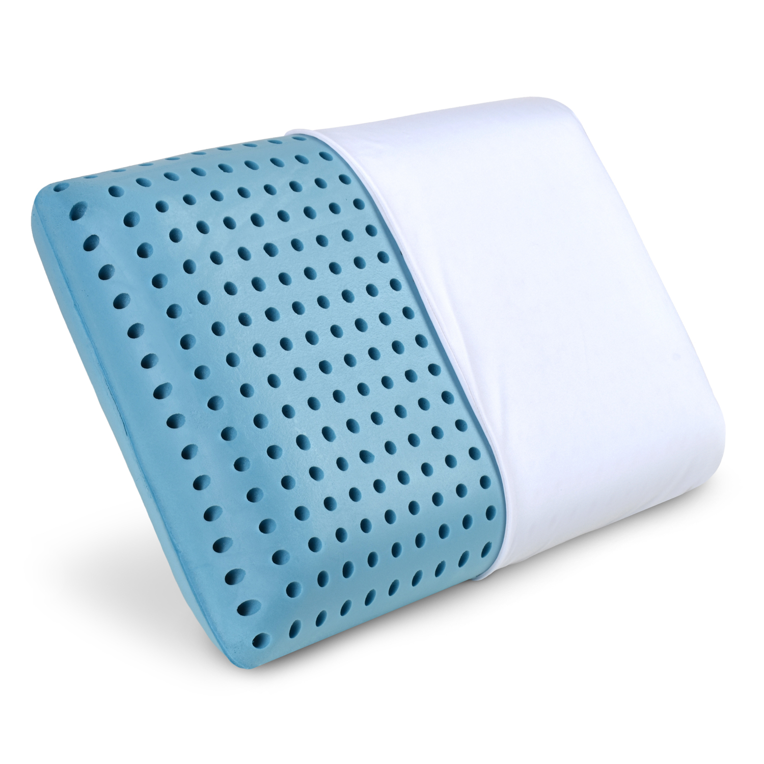 LunaBLUE Memory Foam Pillow Ventilated Hole-Punch Memory Foam Bed Pillow Infused with Cooling Gel incl. Removable Pillow Case