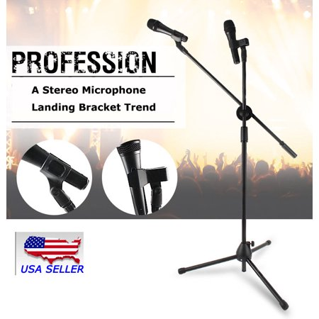 - 360-degree Rotating Microphone Stand Dual Mic Clip Boom Arm Foldable Tripod