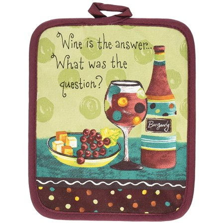 Designs Cotton Potholder, Wine Is The Answer, Wine printed potholder offers protection from hot pot and pan handles to 200 degrees By Kay Dee Ship from