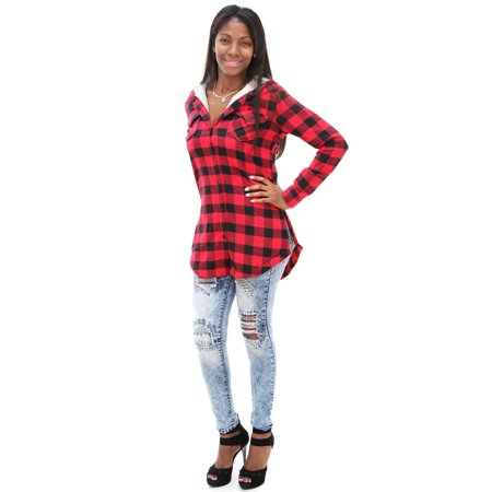 Soho BABE Junior's Sherpa Lined Longline Plaid Flannel Hooded (Sherpa Lined Shirt)