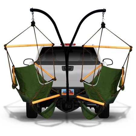 Hammaka Cradle Hammock Chairs and Parachute Hammock with Hitch Stand No matter where you go, the Hammaka Cradle Hammock Chairs and Parachute Hammock with Hitch Stand helps you relax with a durable hitch stand that attaches to most standard vehicle hitches. This unique outdoor relaxation set includes two cradle hammock chairs and a roomy parachute hammock, all made of durable fabric in your choice of available color. Hammaka Hammaka products, now brought to you by King's Pond, are designed to provide a comfortable getaway from all of life's stresses. It all started with the Original Hammaka Hammock Chair, but the wide variety of luxurious chairs is constantly growing in order to give you the perfect fit. You can also put your mind at ease, as well as your body, knowing that Hammaka has gone green by using renewable materials and environmentally responsible manufacturing processes committed to recycling and energy conservation.