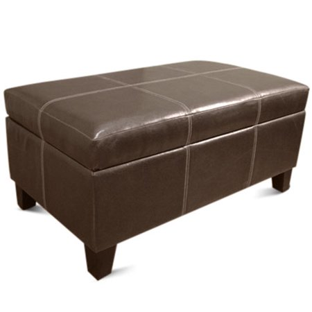 Rectangle storage ottoman brown walmartcom for Storage ottoman walmart
