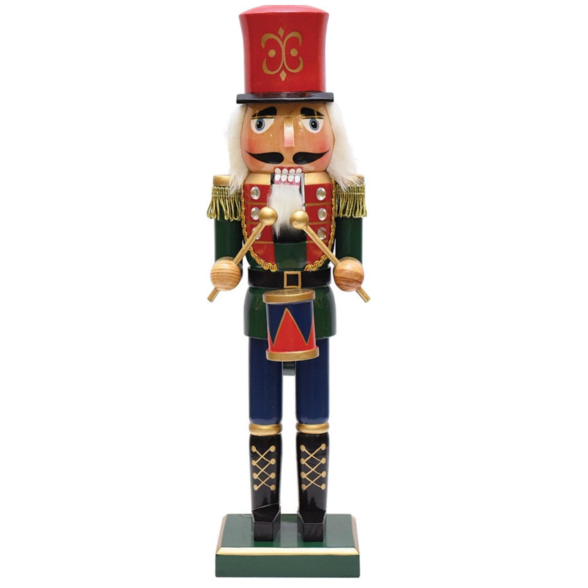 Christmas Nutcracker.14 Green Red And Gold Wooden Christmas Nutcracker Drummer