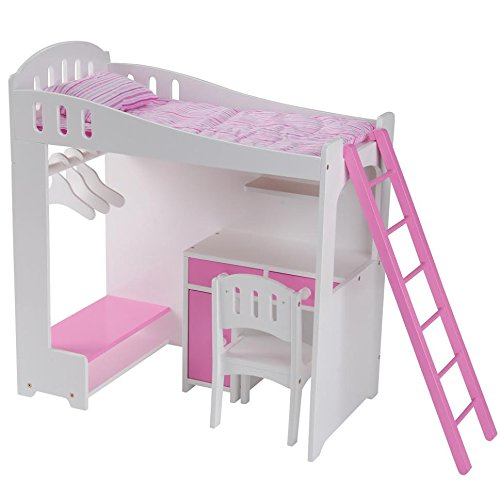 "Constructive Playthings Today's Girl Doll Loft Bed 8-Piece Playset - For 18"" Dolls and Accessories - Ages 4+"