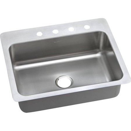 Elkay DSESR127224 Dayton Elite Stainless Steel Single Bowl Dual-Mount Sink with 4 Faucet Holes, Elite Satin