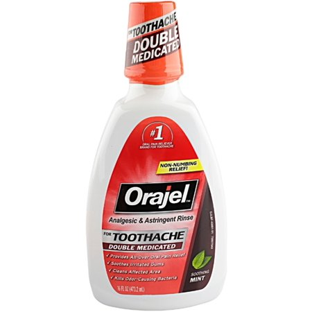 2 Pack - Orajel Analgesic and Astringent Rinse Double Medicated for Toothache, 16