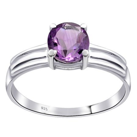 Orchid Jewelry 0.8 Carat Genuine Amethyst Sterling Silver Solitaire Ring Size -8
