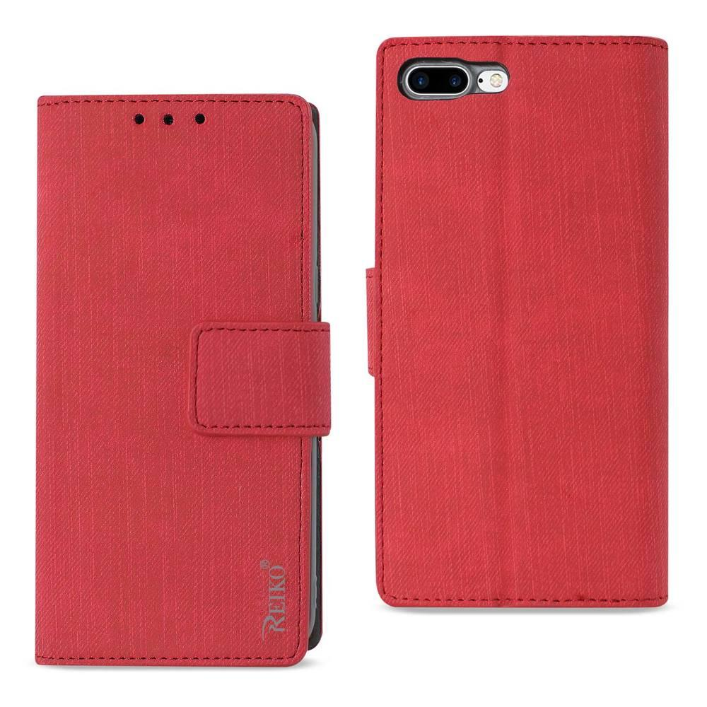 Reiko REIKO IPHONE 7 PLUS/ 6S PLUS/ 6 PLUS DENIM WALLET CASE WITH GUMMY INNER SHELL AND KICKSTAND FUNCTION IN RED