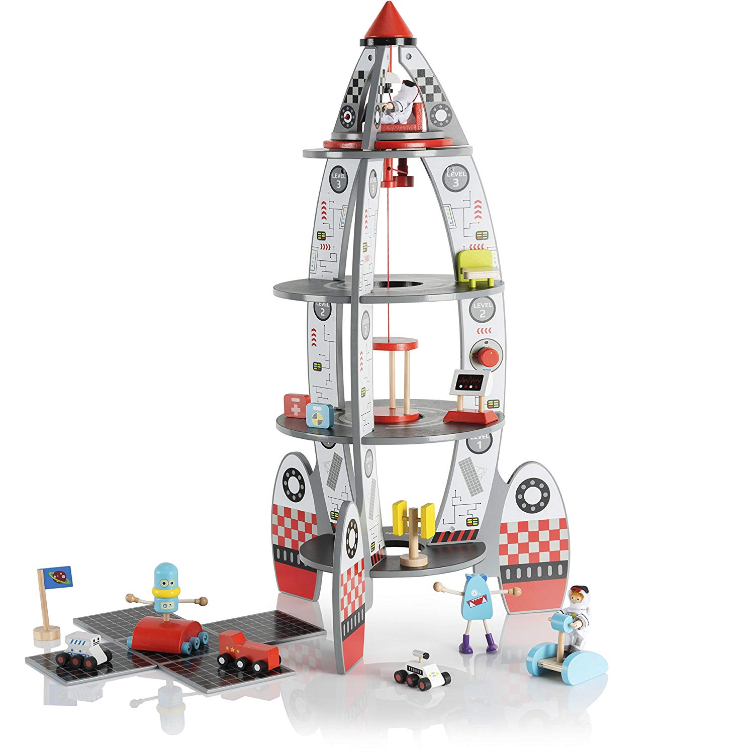 Pidoko Kids Space Ship Rocket Center Includes Astronauts and Accessories Wooden Doll House Station Playset... by